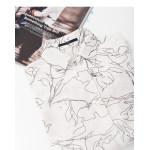 線條感花朵印花長袖雪紡襯衫 Black And White Dot Cloud Collar Style Long Sleeve Chiffon Top