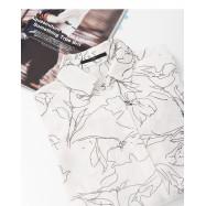 image of 線條感花朵印花長袖雪紡襯衫 Black And White Dot Cloud Collar Style Long Sleeve Chiffon Top