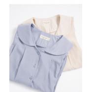 image of 小圓領打摺設計襯衫 兩色售 Small Round Neck Design Shirt Two-Colors