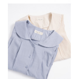 image of 小圓領打摺設計襯衫 兩色售 Small Round Neck Design Shirt Two-Colors