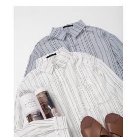 image of 單口袋條紋雪紡襯衫 兩色售 Single Pocket Striped Chiffon Shirt Two-Colors