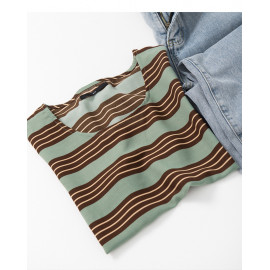 image of 撞色橫條雪紡上衣 Contrast Horizontal Strip Chiffon Top