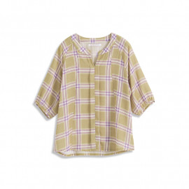 image of V領配色方格雪紡上衣 V-Neck Color Matching Chiffon Top