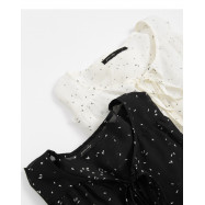 image of 前綁帶點點雪紡上衣 兩色售 Front Strap With A Little Chiffon Top For Sale