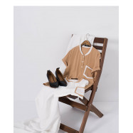 image of 撞色雙口袋造型拼色雪紡上衣 兩色售  Contrast Color Double Pocket Shape Color Matching Chiffon Shirt Two Colors