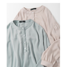 image of 純色中山領澎袖雪紡上衣 兩色售 Solid Color Nakayama Collar Sleeve Shirt Two-Colors