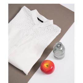 image of 中山領簍空拼接造型上衣 Zhongshan Collar Openwork Stitching Top