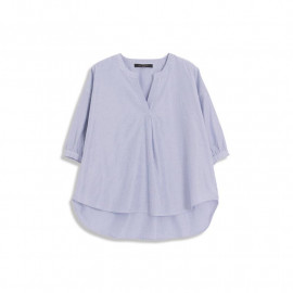image of 配色細直條紋V領上衣 Color Matching Straight Stripe V-Neck Top