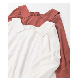 image of 方領設計造型雪紡上衣 兩色售 Square Collar Design Chiffon Top Two-Colors