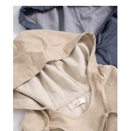 image of 素面斜紋連帽抽繩上衣 兩色售 Plain Twill Hooded Drawstring Top Two-Colors