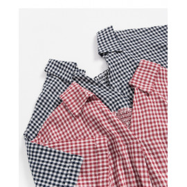 image of 格紋後領鬆緊造型上衣 兩色售 Checked Back Collar Elastic Shape Top Two Colors