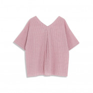 image of V領撞色格紋上衣 V-Neck Contrast Plaid Top