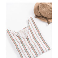 image of 配色條紋V領棉麻上衣 Color Stripe V-Neck Cotton Top