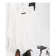 image of 簡約V領直條紋雪紡上衣 Simple V-Neck Straight Striped Chiffon Top