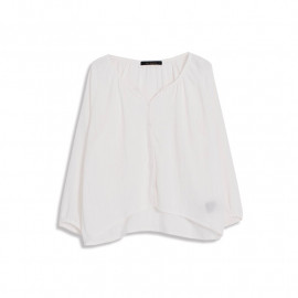 image of 開襟微抓摺棉麻上衣 Open Micro-Flap Cotton And Linen Shirt