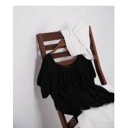 image of 簡約素色下擺荷葉造型棉質上衣 兩色售 Simple Plain Hem Lotus Leaf Style Cotton Top Two-Colors