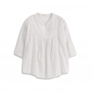 image of 直條紋造型簍空V領上衣 Straight Striped Stenciled V-Neck Top