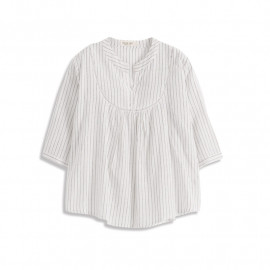 image of 直條紋造型簍空V領上衣 Straight Striped Stenciled V-Neck Top