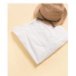 好感白系蕾絲造型棉麻上衣 Good-Looking White Lace-Up Cotton Blouse