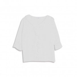 image of V領小花縷空七分棉麻上衣 V-Neck Small Flower Hollow Seven-Point Cotton And Linen Top