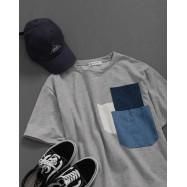 image of 女裝 異材質牛仔多口袋拼接短袖上衣 Women's Denim Multi-Pocket Stitching Short-Sleeved Top