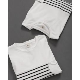 image of 造型圓形口袋條紋拼接衛衣 Shaped Round Pocket Striped Stitching Sweater