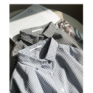 image of 滿版小格子雙口袋棉麻襯衫 兩色售 Full Version Of Small Lattice Double Pocket Cotton Shirt Two-Colors