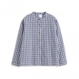 image of 童趣格紋中山領長袖棉麻襯衫 Children's Plaid Zhong Shan Collar Long-Sleeved Cotton And Linen Shirt