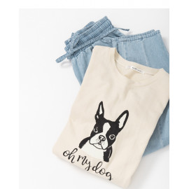 image of 法式鬥牛犬字母印花長版上衣 French Bulldog Letter Print Long Top