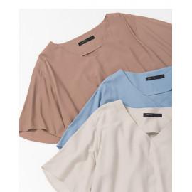 image of 五分袖V領雪紡上衣 三色售 Five-Sleeve V-Neck Chiffon Top Three-Colors