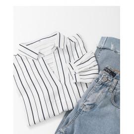 image of 直條紋V領雪紡上衣 Straight Striped V-Neck Chiffon Top