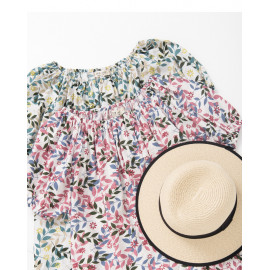 image of 一字領花朵印花短袖上衣 兩色售 One-Necked Flower Print Short-Sleeved Shirt Two-Colors