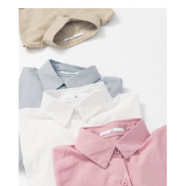 image of 素面單口袋襯衫 四色售 Plain Single Pocket Shirt Four Colors