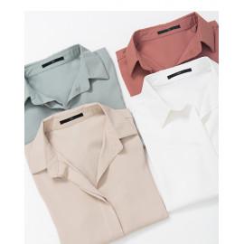 image of 雪紡素面襯衫領上衣 四色售 Chiffon Plain Shirt Collar Top Four Colors