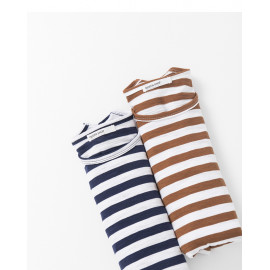 image of 配色橫條紋竹節棉長袖棉T 兩色售 Color Matching Horizontal Stripe Bamboo Cotton Long-Sleeved Cotton T Two-Colors