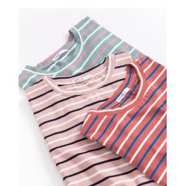 image of 圓領配色條紋短T 三色售 Round Neck Color Matching Stripe Short T Three Colors