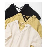 image of 領片造型後綁帶上衣 三色售 Tie-Up Shirt Three-Colors