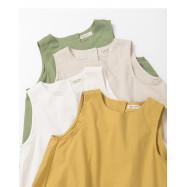 image of 後釦設計麻棉無袖上衣 四色售 Back Button Design Linen Cotton Sleeveless Shirt Four Colors