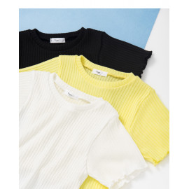 image of 捲邊短版針織上衣 三色售 Rolled Short Knit Top Three Colors
