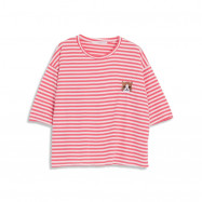 image of 配色條紋刺繡貓咪圖案短T Color Stripe Embroidered Cat Pattern Short T