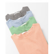 image of 配色細條紋圓領短T 四色售 Color Matching Pinstriped Round Neck Short T Four Colors