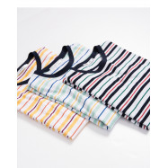image of 配色條紋圓領上衣 三色售 Color Stripe Round Neck Top Three-Colors