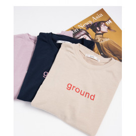 image of GROUND字母印花圓領上衣 三色售 GROUND Letter Printed Round Neck Top Three-Colors