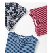 image of 童趣配色系條紋短袖棉T 三色售 Childlike Color Matching Stripe Short-Sleeved Cotton T Three-Colors