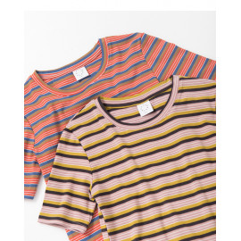 image of 圓領細橫彩條短T 兩色售 Round Neck Thin And Horizontal Strips Short T Two Colors