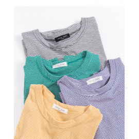 image of 繽紛細條紋圓領上衣 四色售 Colorful Pinstripe Round Neck Top Four Colors