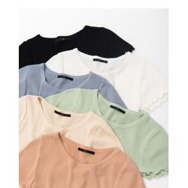 image of 休閒百搭素色捲邊造型短袖上衣 六色售 Casual Versatile Plain Curling Short-Sleeved Shirt Six Colors