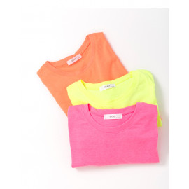 image of 螢光色系圓領短T 三色售 Fluorescent Color Round Neck Short T Three Colors