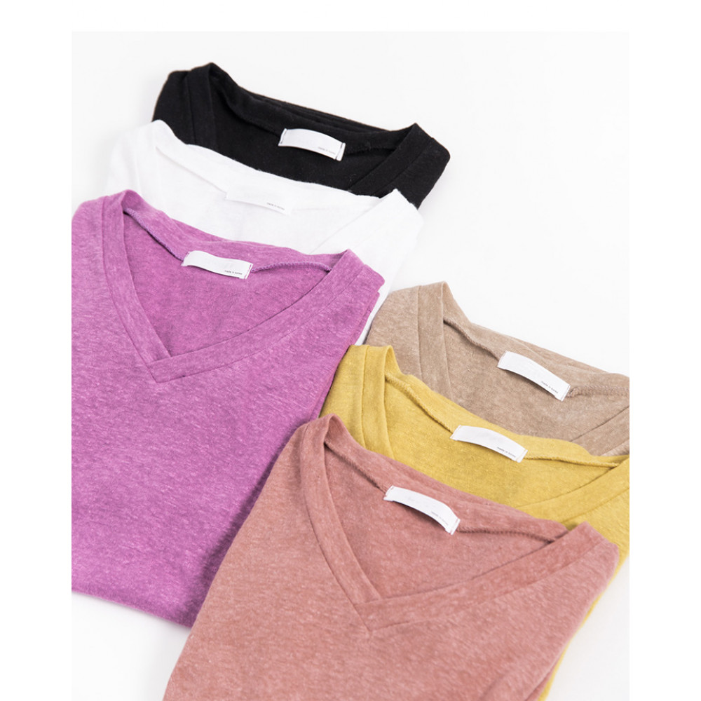 素面微透V領上衣 六色售 Plain Faceted V-Neck Top Six-Colors