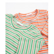 image of 繽紛配色條紋合身上衣 兩色售 Colorful Matching Striped Shirts Two-Colors